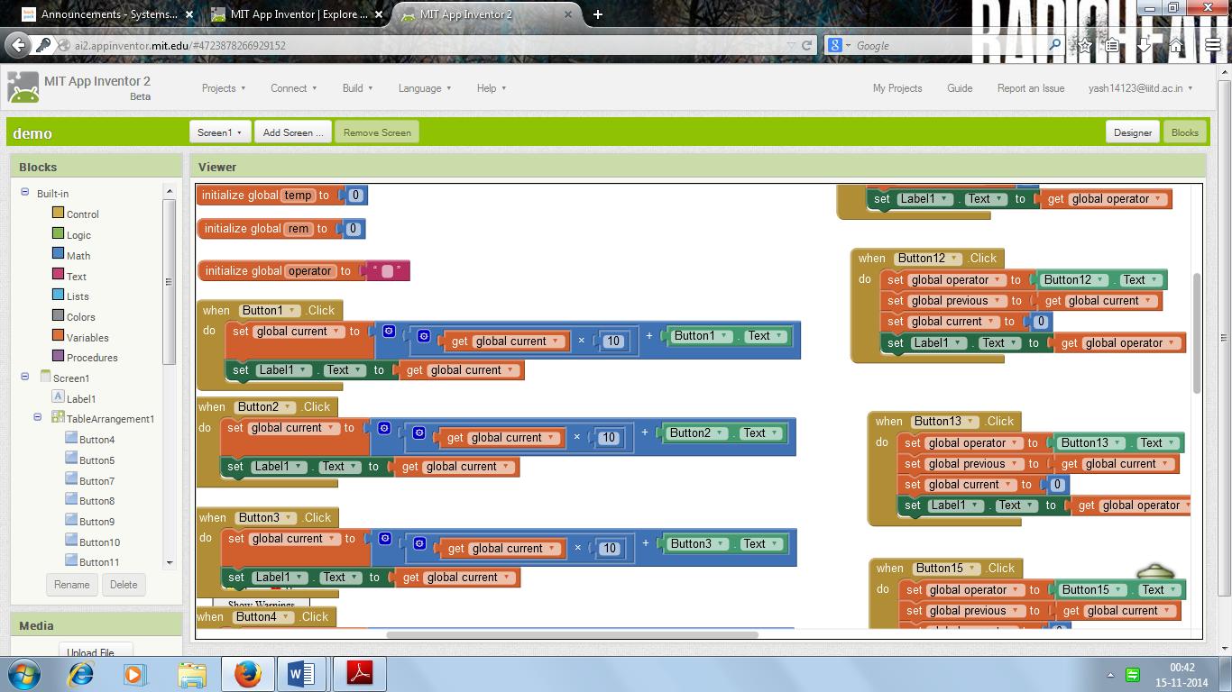 App Inventor 2 Calculator - System Management 2014